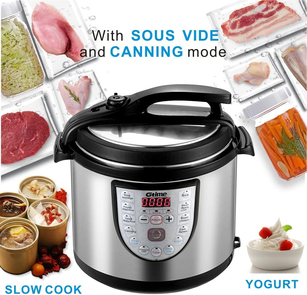 Electric Pressure Cooker Slow Cook Programmable 18 Kinds of Cooking Option with Stainless Steel Inner Pot,Sous Vide,Rice Cooker,Egg Cooker,Hot Pot,Baking,Cake,Steamer,Yogurt,Scouring Pad,24-Hour Delay Timer and Keep Warm (6-Qt)