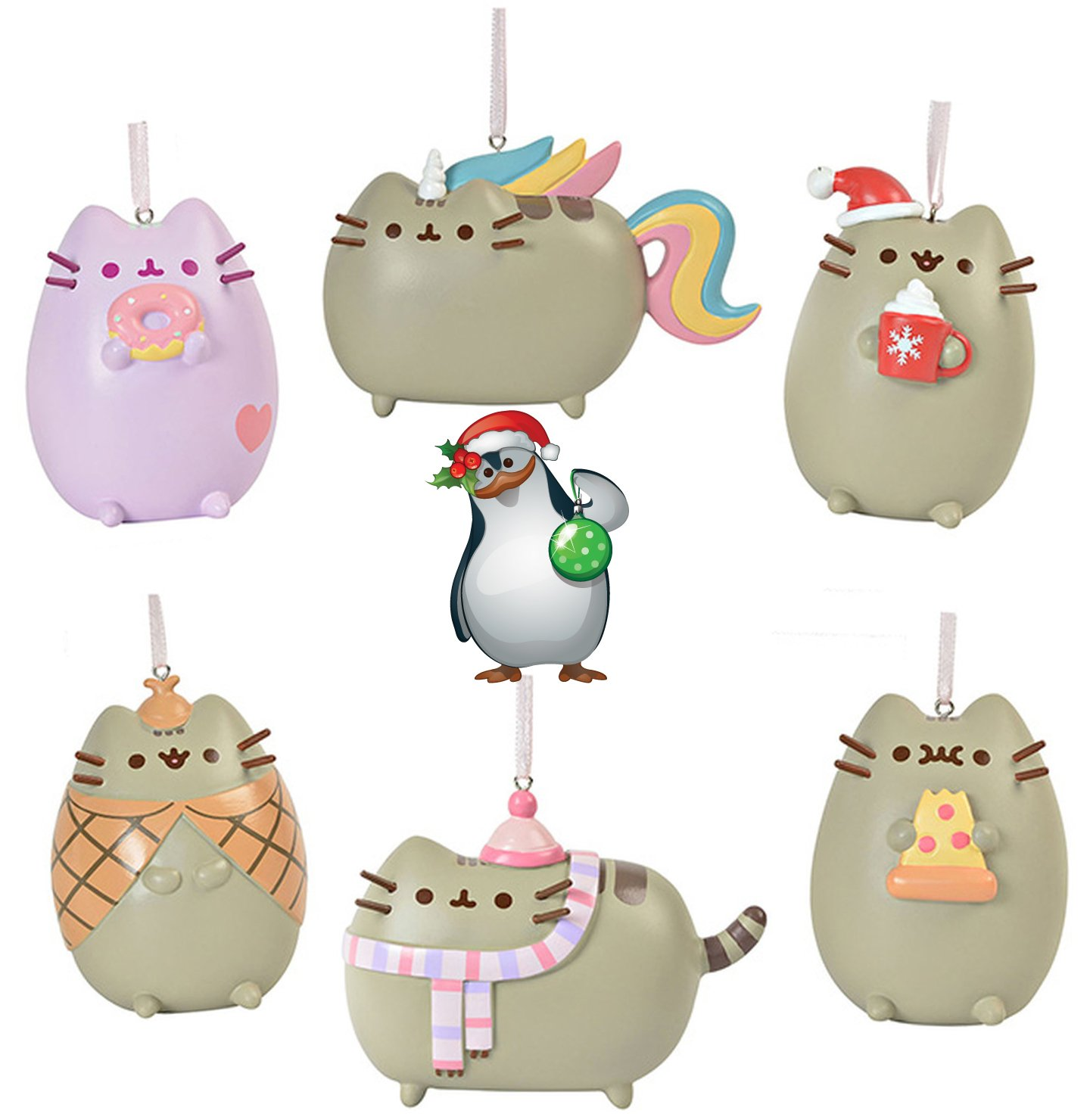 Gund Pusheen the Cat Christmas Holiday Set of 6 Ornaments with Penguin Sticker by Gund Pusheen