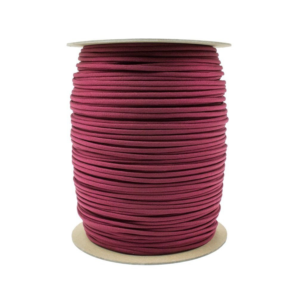 SGT KNOTS Paracord 550 Type III 7 Strand - 100% Nylon Core and Shell 550 lb Tensile Strength Utility Parachute Cord for Crafting, Tie-Downs, Camping, Handle Wraps (4mm - 100 ft - Burgandy)