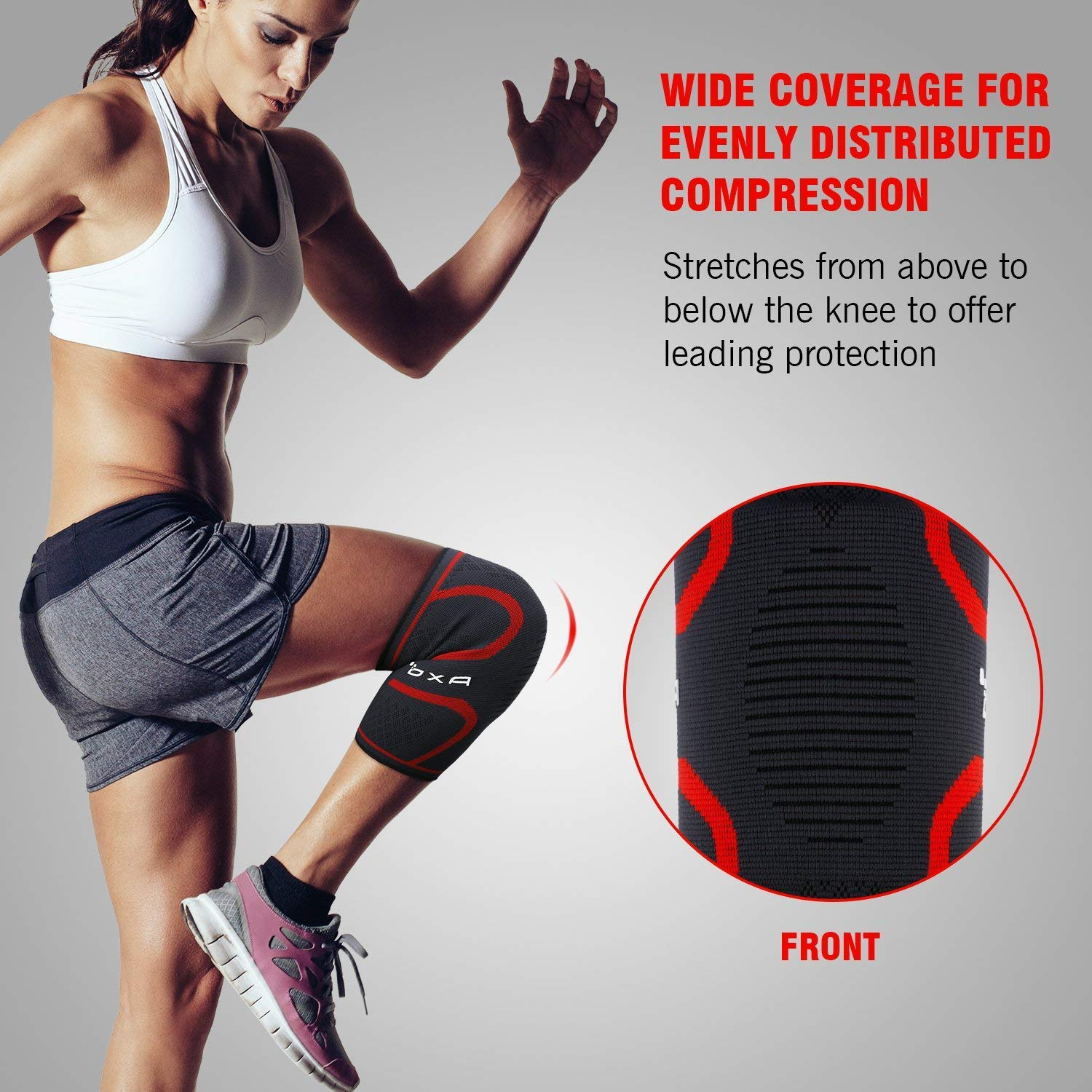 Knee Sleeves 2 Packs Compression Knee Brace Women Men Cycling Leg Knee Warmers, Support for All Sports