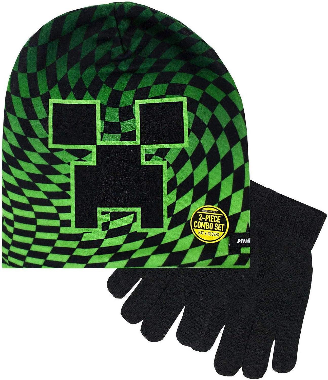 Minecraft Boy's Creeper Checkered 2 Piece Kids Hat and Gloves Set Black: Clothing