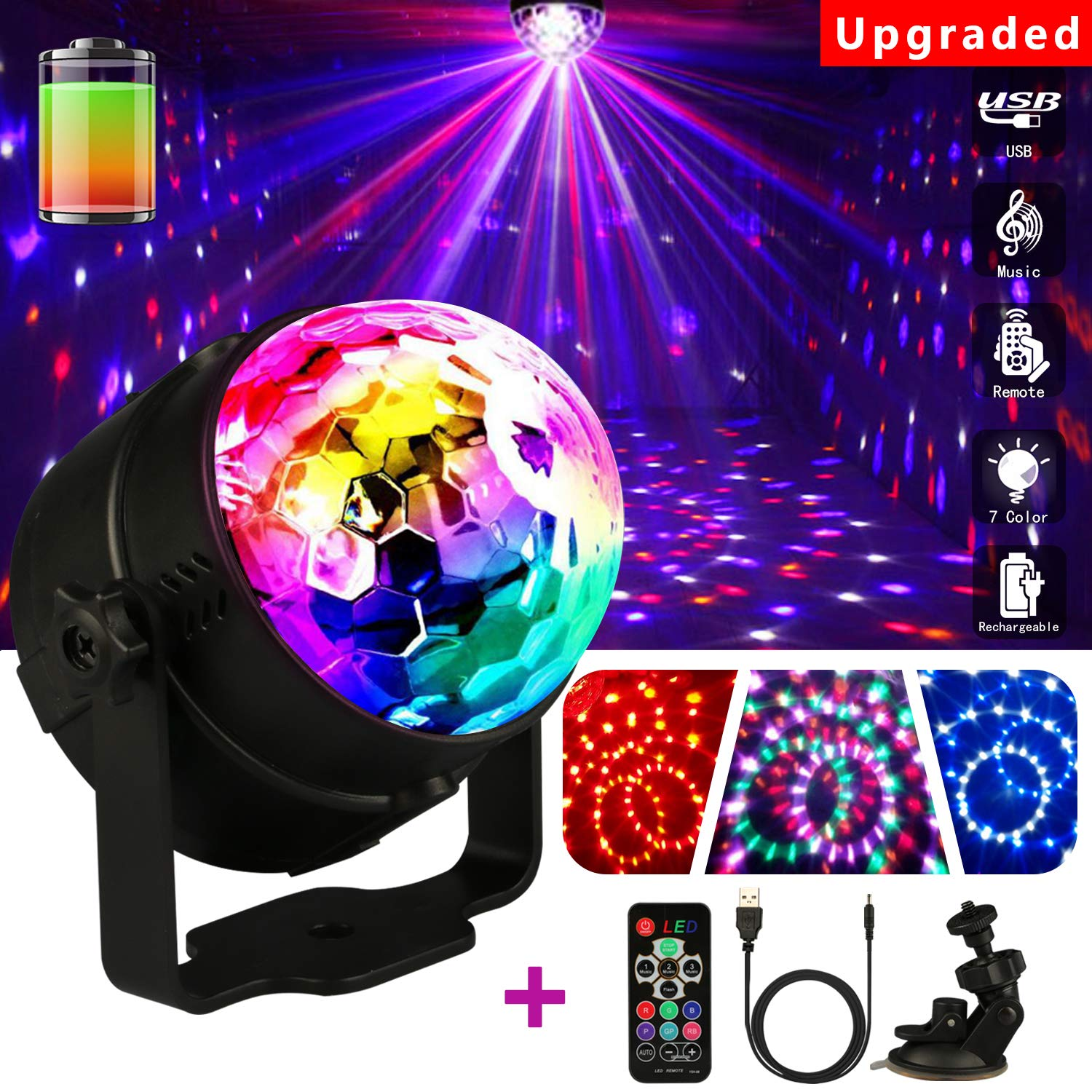 Disco Lights Party Lights, Emooqi 2018 New Upgrade Stage Lights Disco Ball With 7 Modes 3W RGB +360° Rotating Suction Cup Bracket +5-7 hour No need to charge +48dB Sensitive Sound Activated for Parties