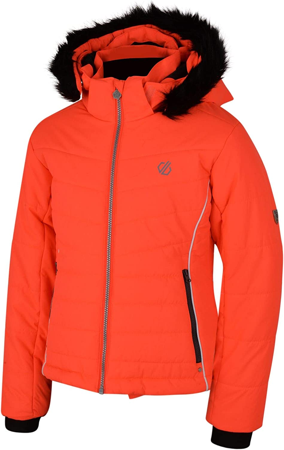 ni/ña 11-12 a/ños Dare 2b Predate Waterproof Breathable High Loft Insulated Quilted Silhouette Ski Snowboard Jacket with Detachable Faux Fur Hood and Snowskirt Chaqueta Coral