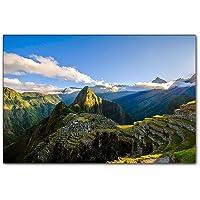 BP PB Art - Machu Picchu Come Stampa Artistica su Tela e Cornice in Legno, Ottima qualità, Realizzata a Mano in Germania.