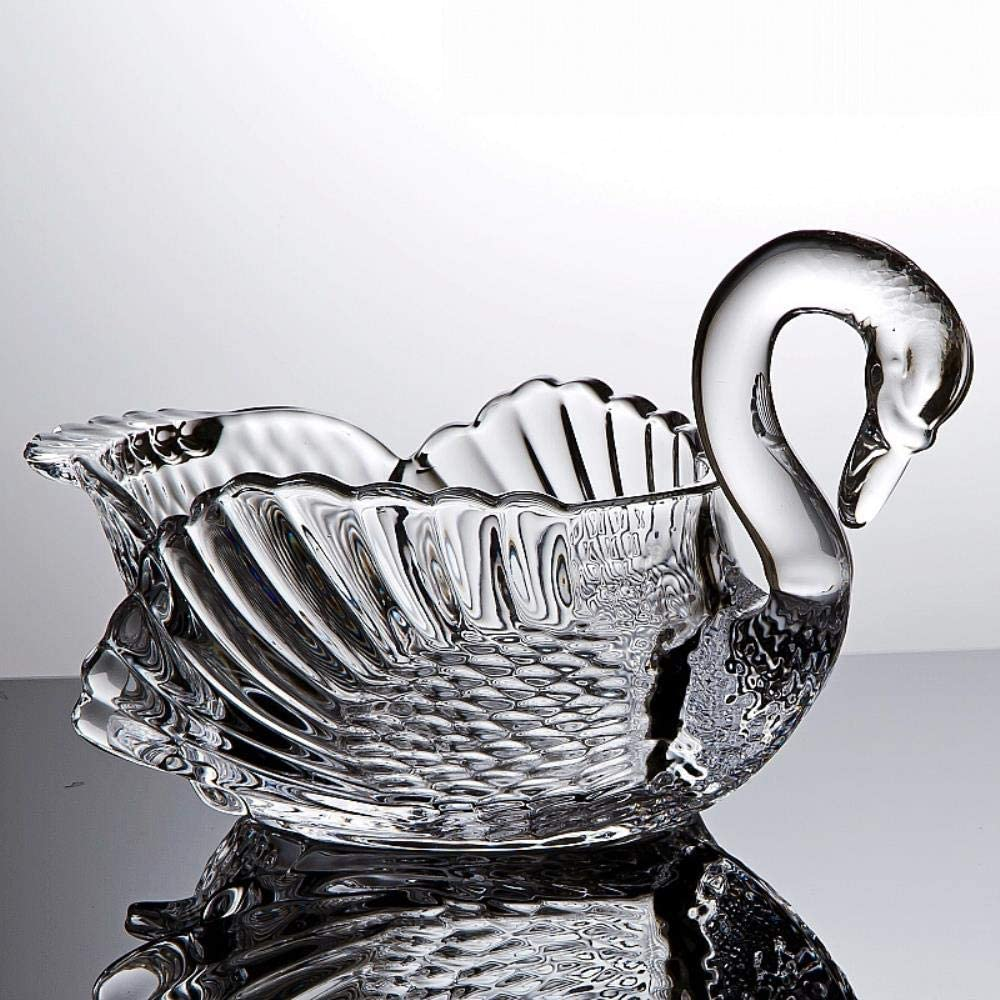 Jpzcdk Glass Decorative Bowl Swan Fruits Bowl Multifunction Sweets Storage Gift Craft Dinnerware Ornament Accessories Transparent About 11 Inch Amazon Co Uk Kitchen Home