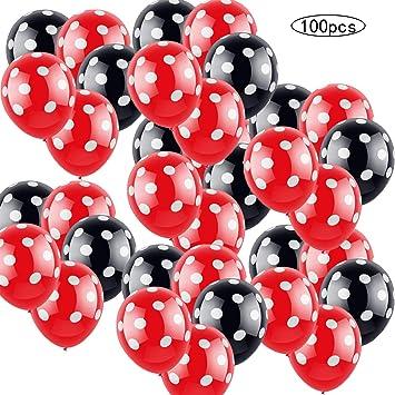 100 PSC Decoraciones de cumpleaños de Minnie Mouse rojas y negras para niñas Negro con Lunares Blancos y Rojo con Globos de Lunares Blancos para ...