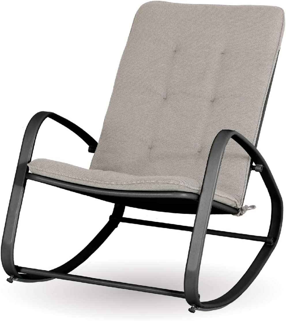 Sophia and William Outdoor Patio Rocking Chair Padded Steel Rocker Chairs Support 300lbs, Black: Kitchen & Dining