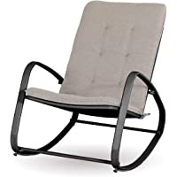 Sophia and William Outdoor Patio Rocking Chair Padded Steel Rocker Chairs Support 300lbs, Black