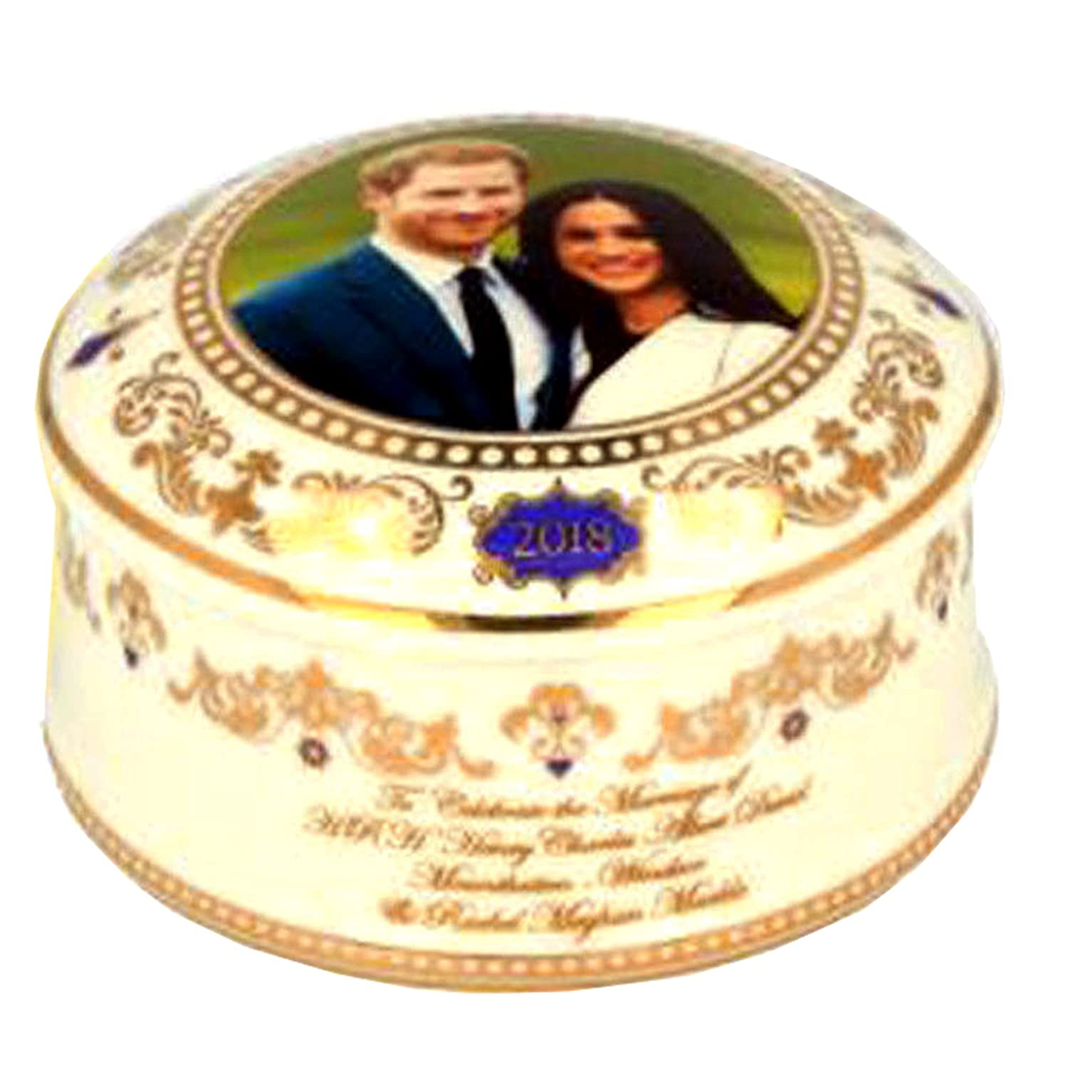 H.R.H. Prince Harry & Meghan Markle Royal Wedding 19th May 2018 Commemorative Ceramic Trinket Box Elgate 72163