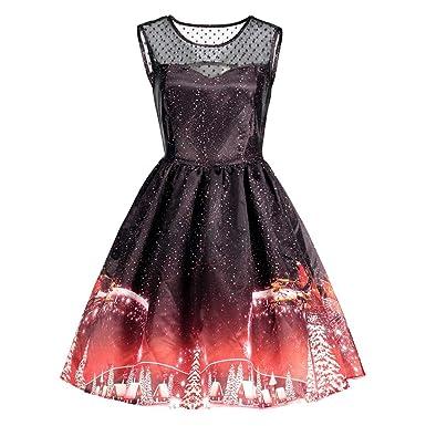 bdc913e77f929 Women s Plus Size Christmas Sleeveless Dress Vintage 1950s Rockabilly Round  Neck Snowflake Print Flared A-