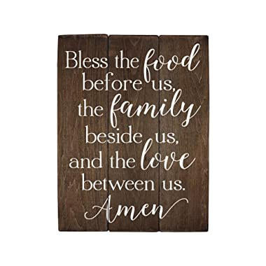 Elegant Signs Bless the food before us sign wood sign Kitchen Wall Decor Wood Kitchen Sign (11 x 14 inch)
