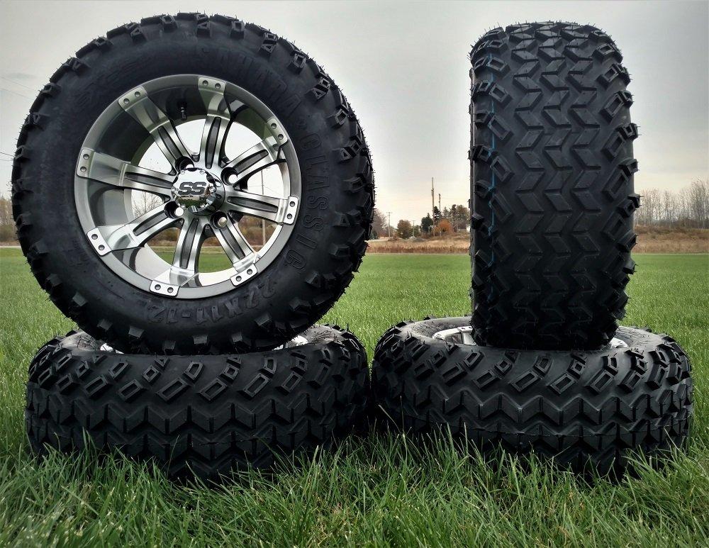 Bundle - 9 Items: LSI Casino 12'' GM Golf Wheels 22x11-12 Sahara Classic Tires [for E-Z-GO & Club CarGolf Carts]