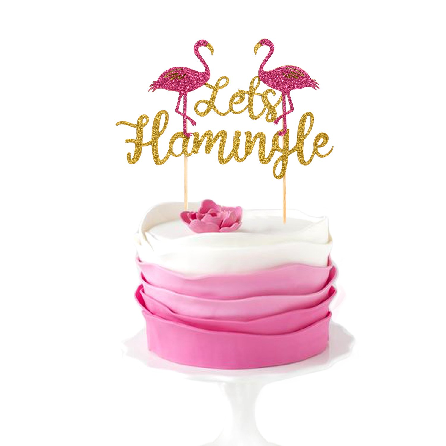 Amazon.com: Salmuphy Let\'s Flamingle Cake Topper for Birthday ...