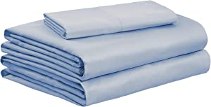 AmazonBasics Organic Sateen Cotton Sheet Set - Twin, Steely Blue
