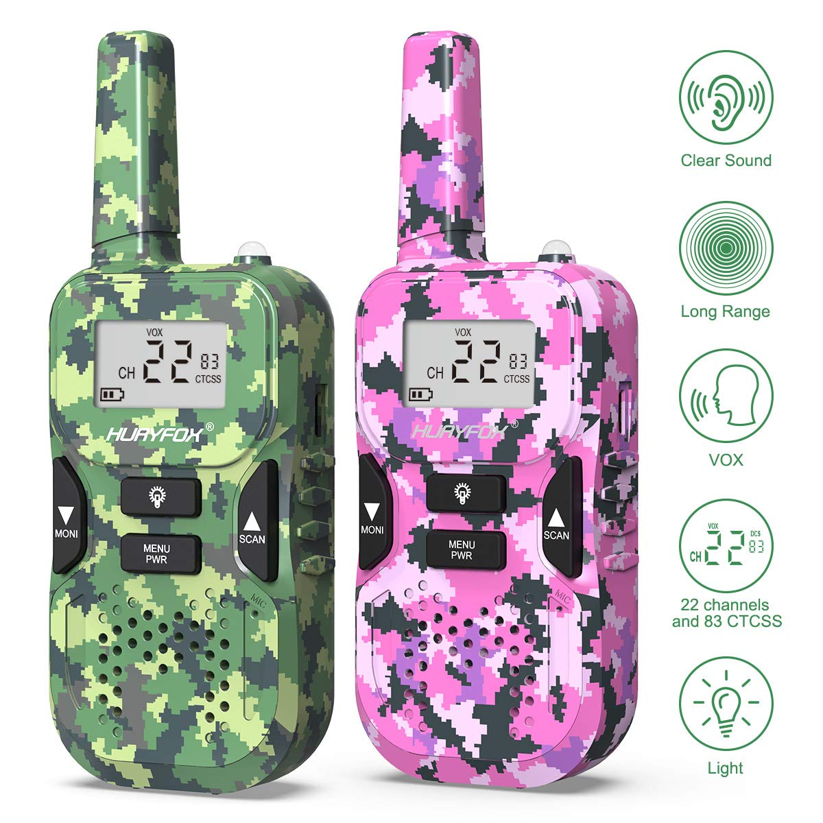 Walkie Talkie for Kids- Two Way Radio Toys with 22 Channels 83 Privacy Codes-Rechargeable Long Range Walky Talky with VOX Function for Camping,Hiking, Outdoor Adventures (2 Pack,Camo&Pink)