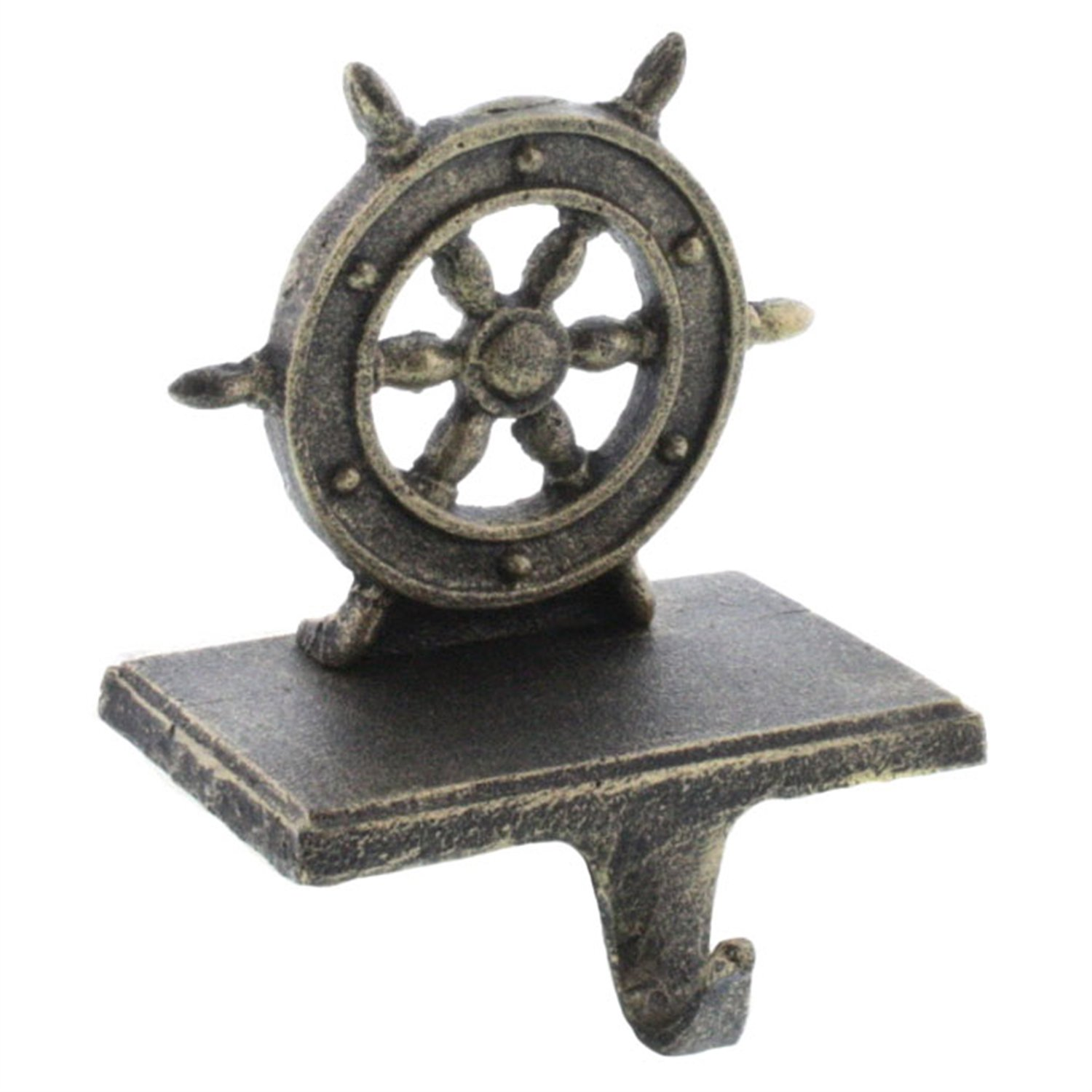 HomArt Ships Wheel Stocking Holder - Cast Iron (Antique Bronze) (Set of 12)