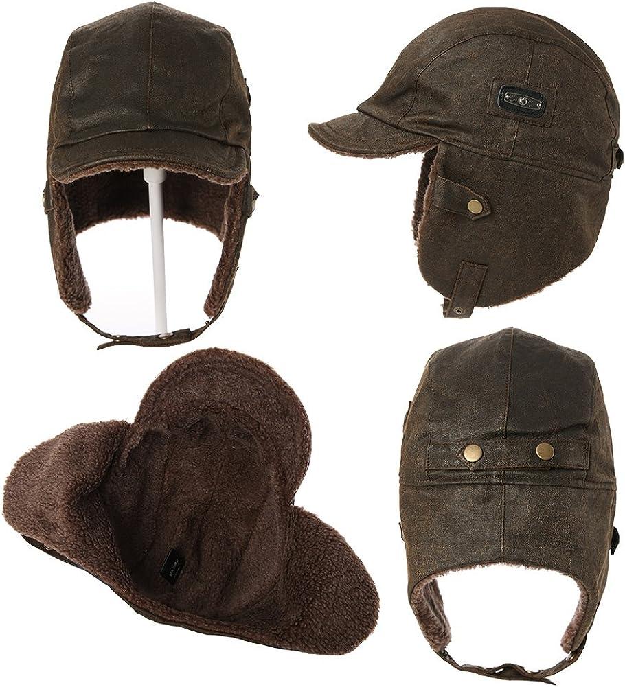 paraorecchie da caccia Fancet in pile Berretto invernale impermeabile in finta pelle per aviatore e pilota 2 misure, 56 /– 63 cm cotone cerato/_marrone L