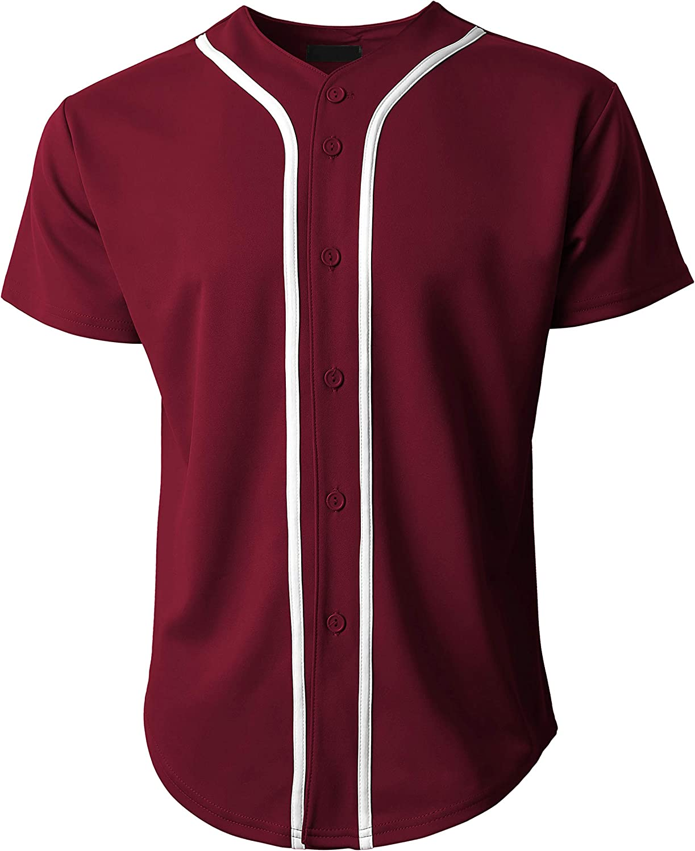 Ma Croix Made in USA Mens Premium Button Down Baseball Jersey Team Uniform Hip Hop Urban Tee Shirt