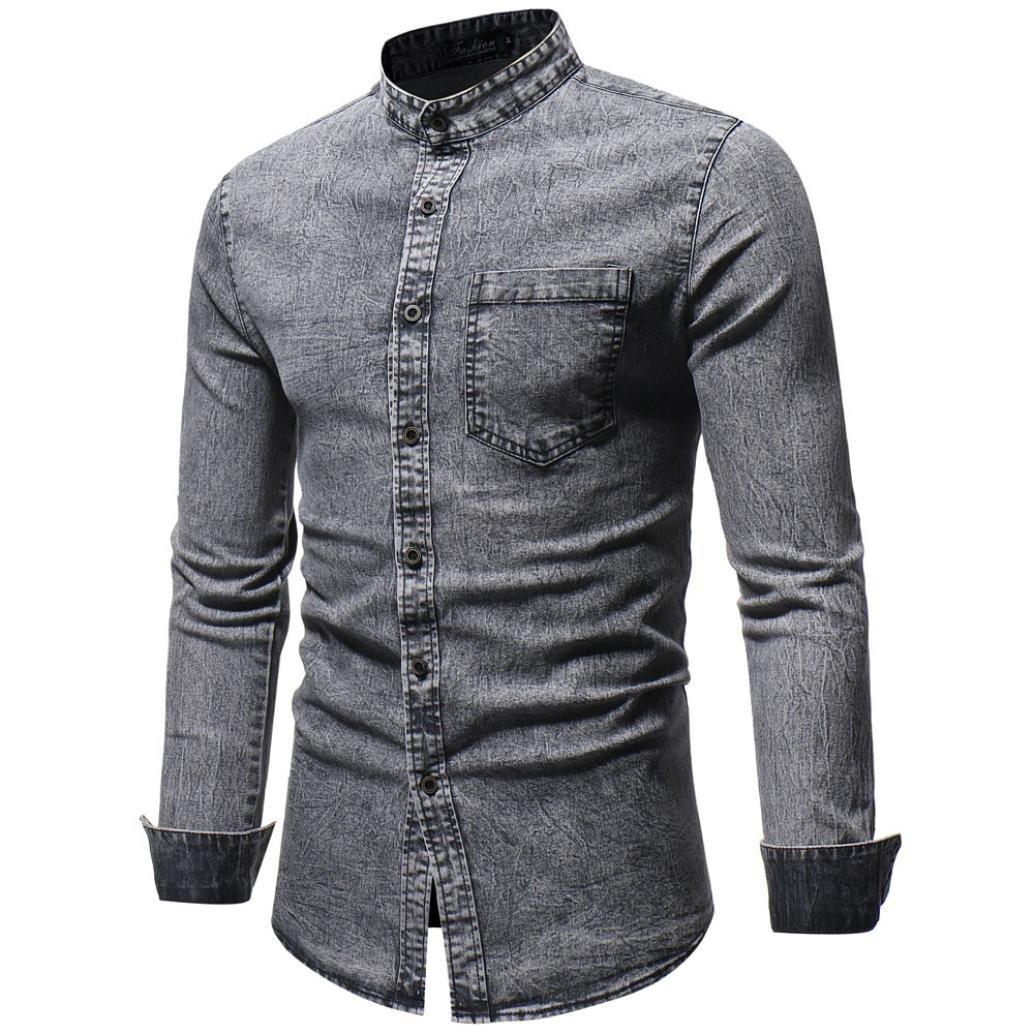 Camisas de Hombre Manga Larga, Dragon868 2018 Otoño Invierno Vintage Denim Camiseta Blusa para Hombres: Amazon.es: Ropa y accesorios