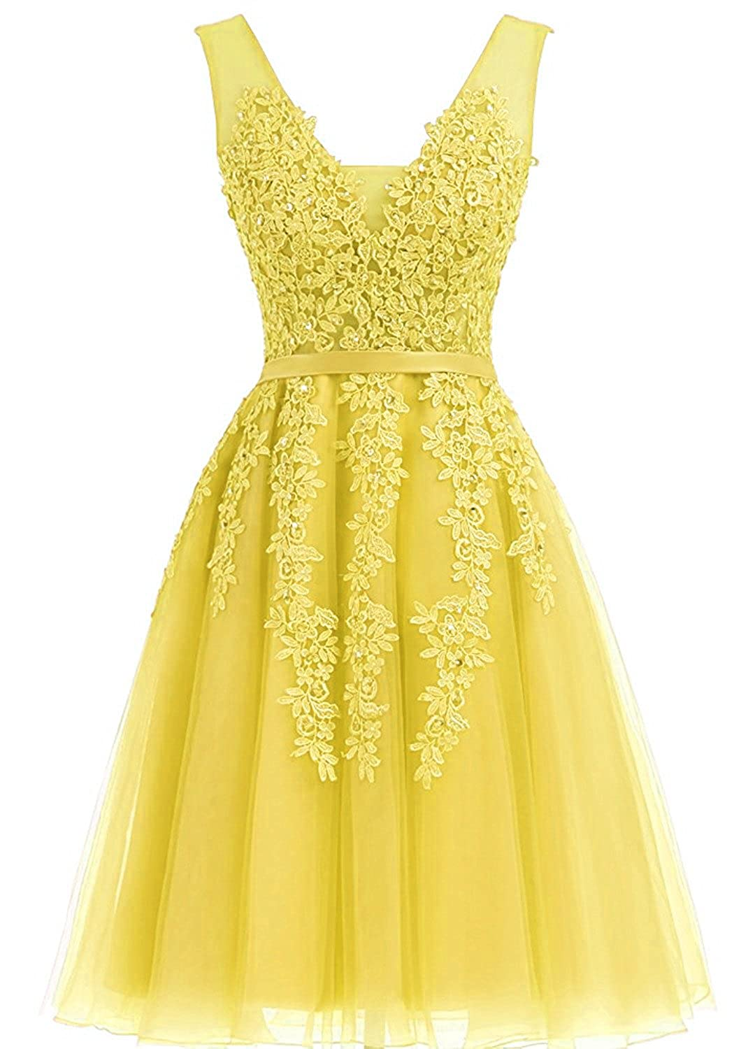 Yellow Caissen Women's Short Ball Gown Sheer VNeck Beading Appliques Tulle Prom Dress VBack with Zipper Mini Party Dress