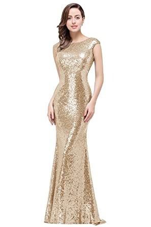 6e864975 MisShow Womens Sequins Bridesmaid Dresses Modest Long Prom Evening Gowns  Champagne US2