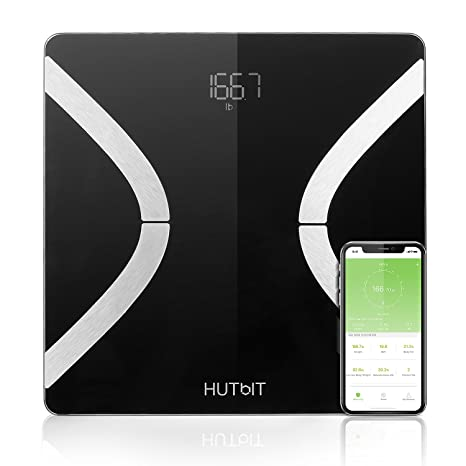 Báscula de grasa corporal HUTbIT, báscula de baño Smart BMI, 13 mediciones precisas