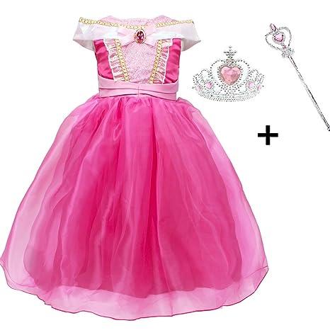 Vestido Niña Princesa, LiUiMiY Disfraz infantil de Princesa Rosa para Fiesta Carnaval Cumpleaños Cosplay