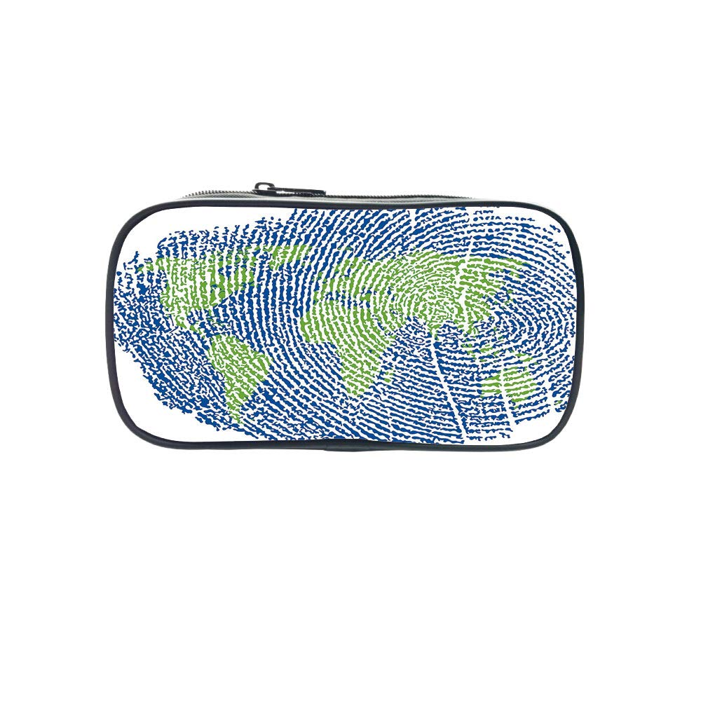 Personal Tailor Pen Bag,World Map,Map of The World Fingerprint Style Continents Asia Europe Africa America,Navy Blue Green,for Students,Comfortable Design