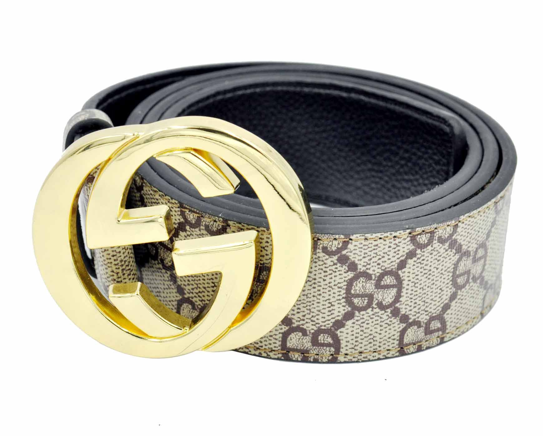HE-products G-Style unisex Business Casual Belt [3.8CM] (Brown with gold buckle, 115CM[Waist 33-35])