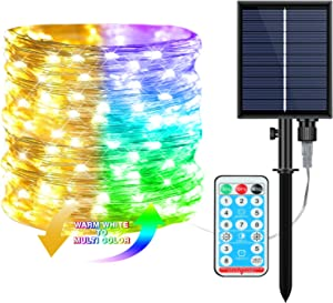 HLHome Solar String Lights Outdoor,66ft 200 LEDs Waterproof Solar Fairy Lights with Remote Control,Warm White & Multi Color Christmas String Light for Patio Yard Christmas Trees Party Decor
