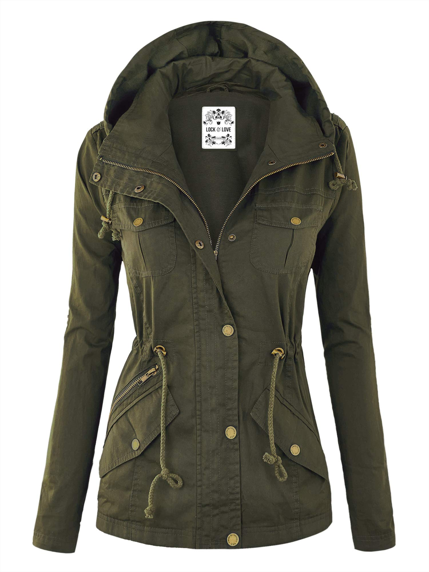Lock and Love WJC643 Womens Pop of Color Parka Jacket XL Olive by Lock and Love