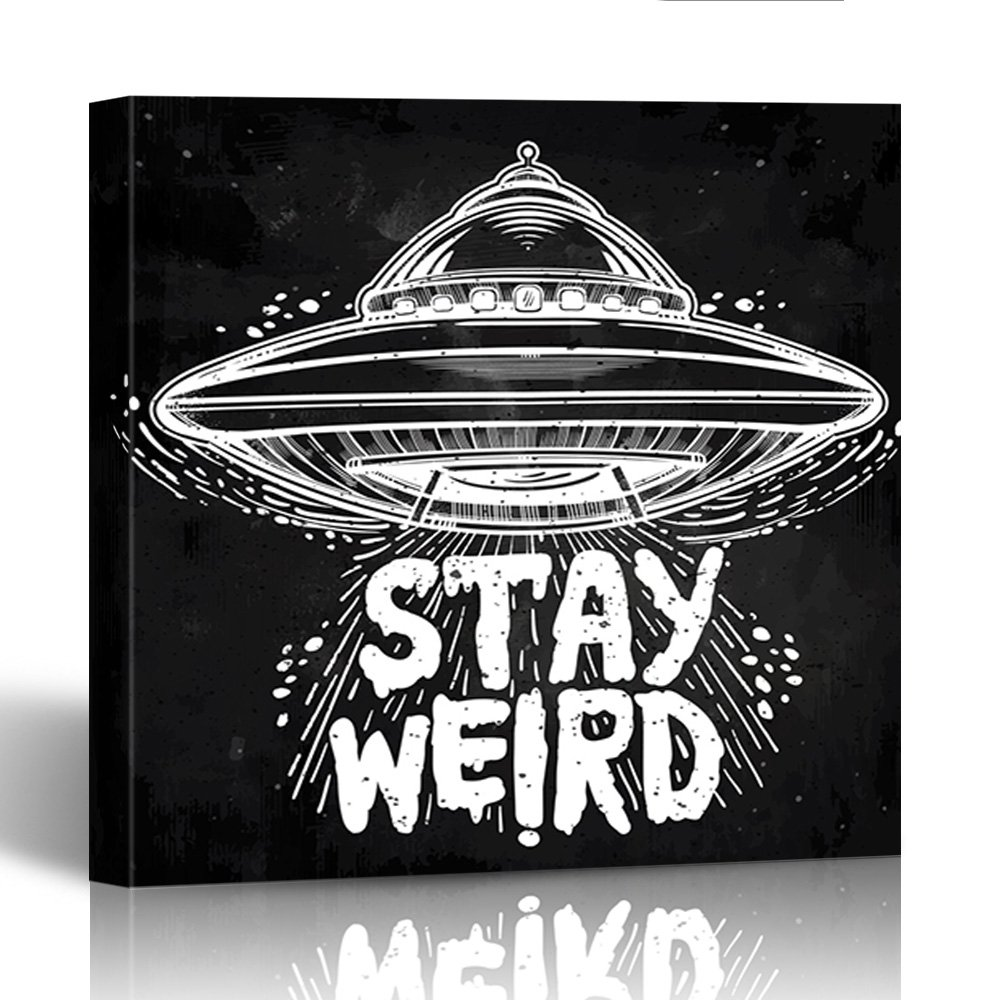 Emvency Canvas Prints Square 12x12 Inches Alien Stay Weird Lettering Inspirational Quote Ufo Graphic Tattoo Martian Paranormal Decoration Wooden Frame Pictures Framed Wall Decor