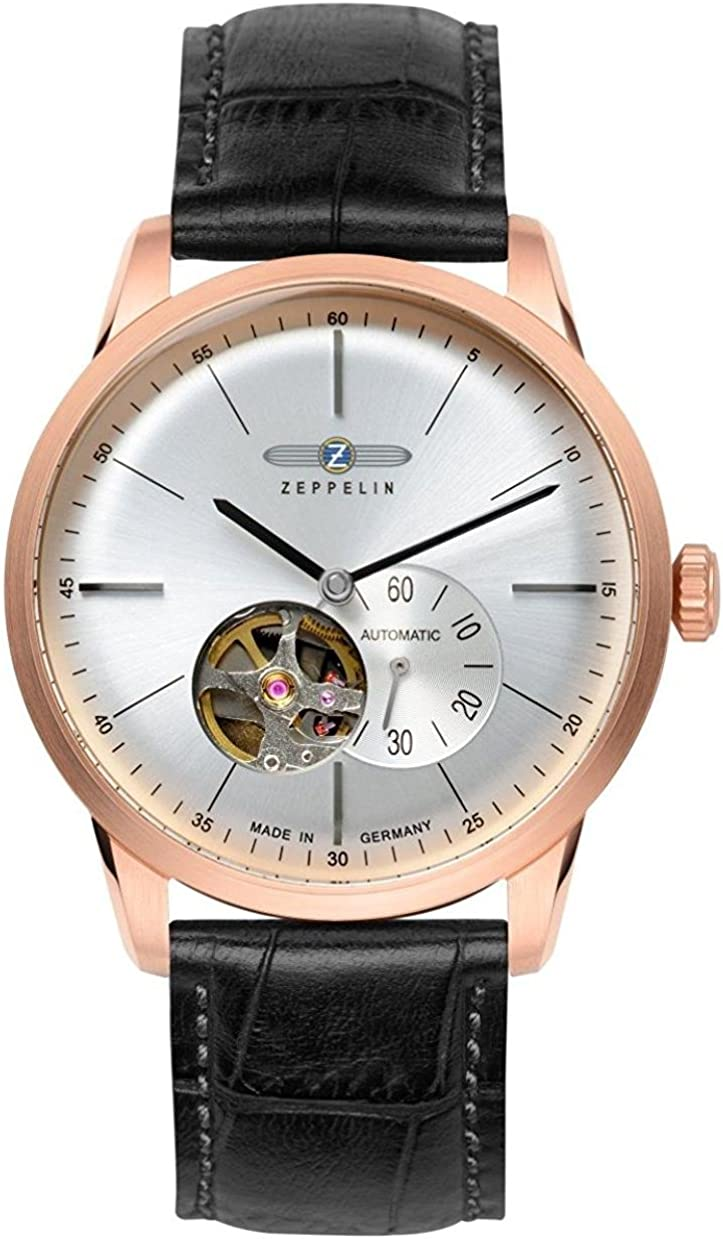 Zeppelin Flatline Automatic Open Heart Men's Rose Gold Watch Black Band 7362-4