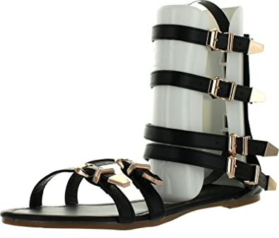 5107e01ae03 Chatties Veevee Womens Gladiator Sandals Flats W Multi Buckle Straps