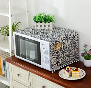 Annchaos Microwave Oven Cover Dust Oil Proof Cloth with Storage Pockets Cotton Linen Kitchen Toaster Appliance Protector (Blue and White Porcelain)