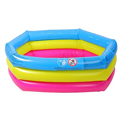 "30"" Blue, Pink and Yellow Inflatable Triple Ring Children's Swimming Pool: Toys & Games"