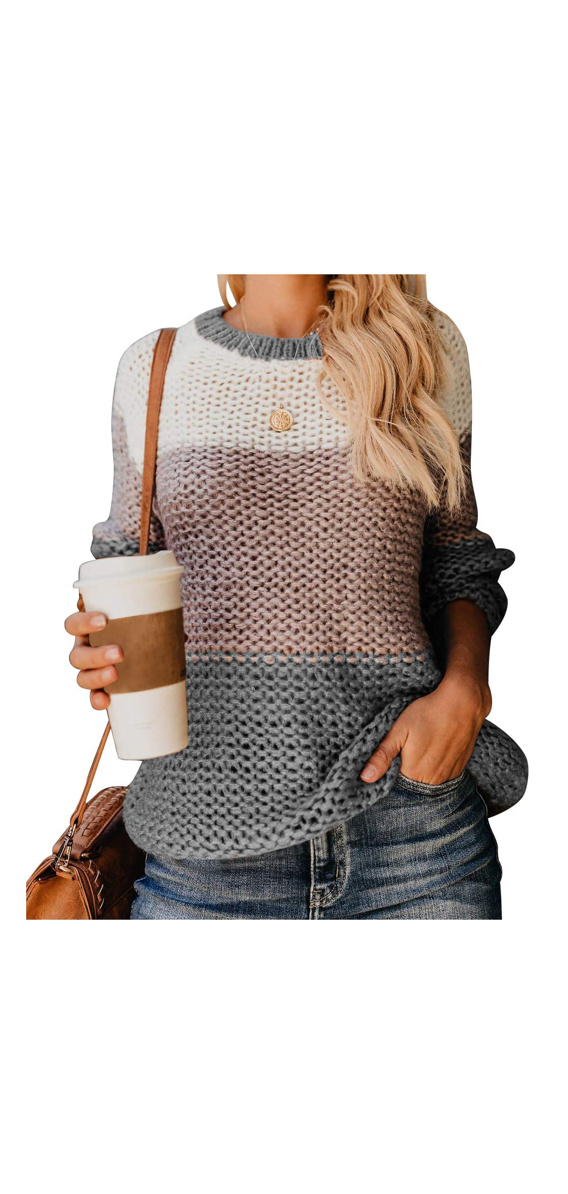 Womens Crewneck Overszie Color Block Sweaters Knitted
