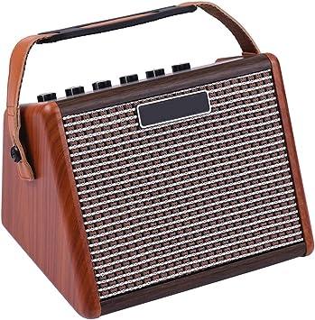 ZXCV 15W portátil Guitarra acústica Amplificador Amp BT Altavoz Incorporado de la batería Recargable con micrófono Interfaz,Marrón: Amazon.es: Deportes y aire libre