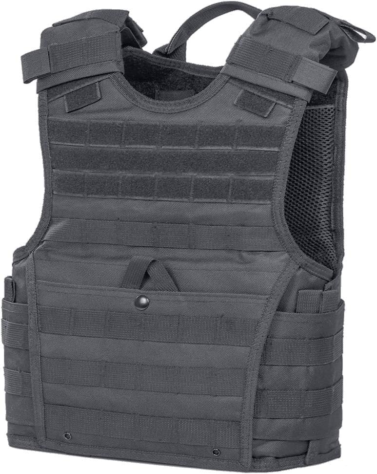 Image of a tactical vest in black color, with front snap closure type, hoop patches located above it for attachments.