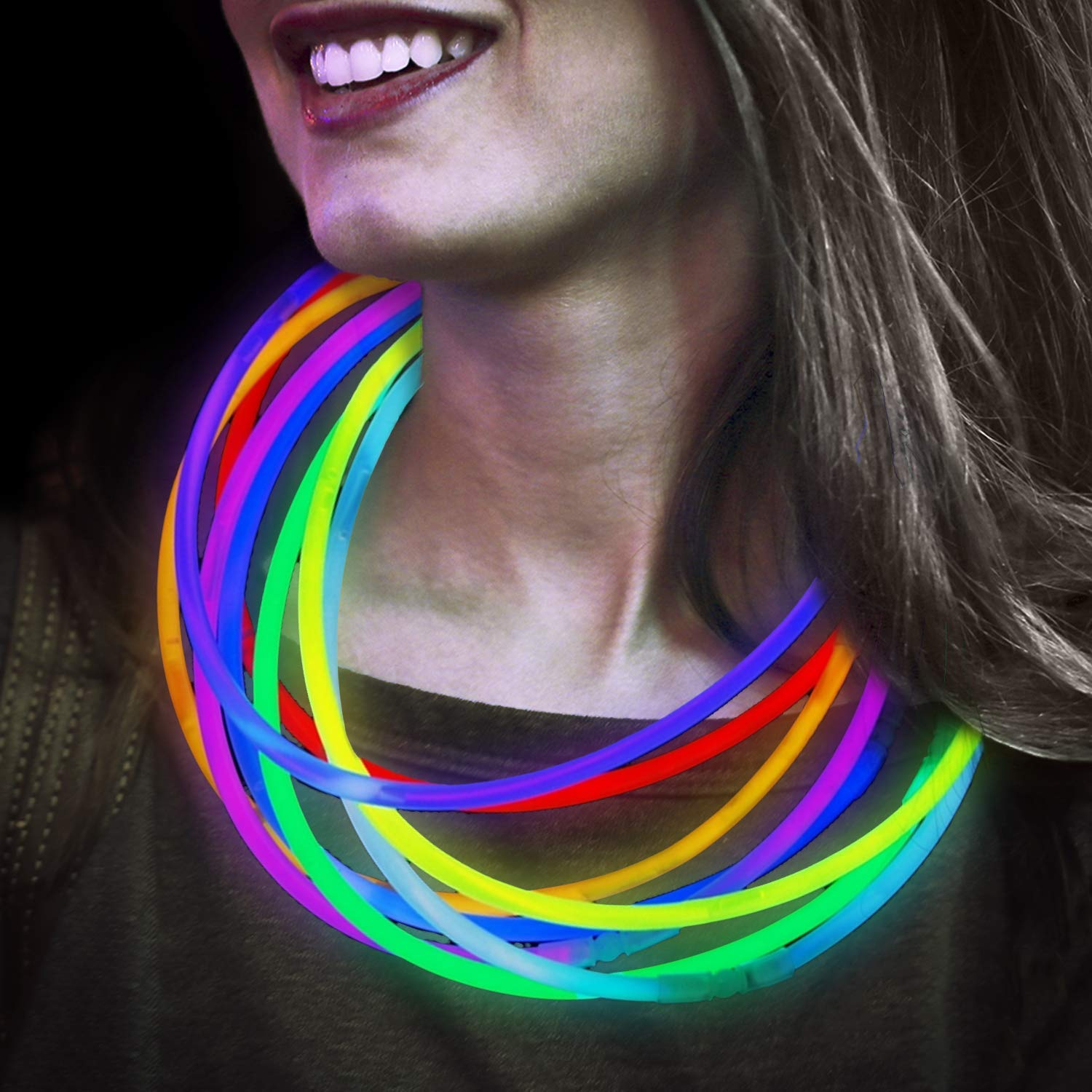 Lumistick Premium 22 Inch Glow Stick Necklaces with Connectors | Kid Safe Non-Toxic Glowstick Necklaces Party Pack | Available in Bulk and Color Varieties | Lasts 12 Hours (Color Assortment, 100) by Lumistick (Image #1)