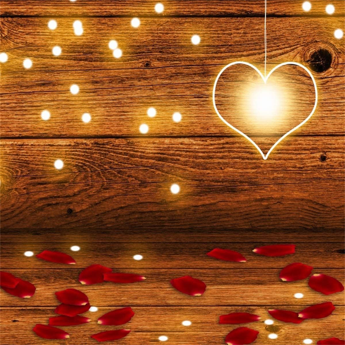 YEELE 9x9ft Love Theme Backdrop Romantic Lights and Roses Petals in a Cottage Photography Background Bridal Wedding Valentines Day Portrait Photoshoot Studio Props Digital Wallpaper