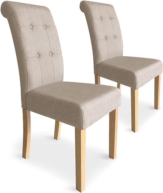 Menzzo capitonnées – Juego de 2 sillas Adam, Tejido, Beige, 47 x 60 x 99 cm: Amazon.es: Hogar