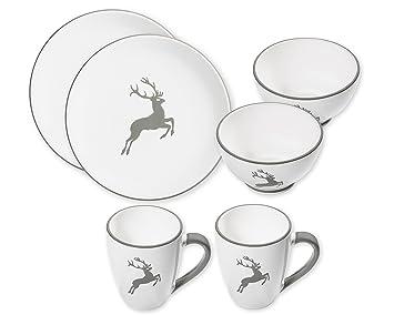 Gmundner Keramik Grauer Hirsch Hüttenfrühstück Für 2 Personen 6tlg