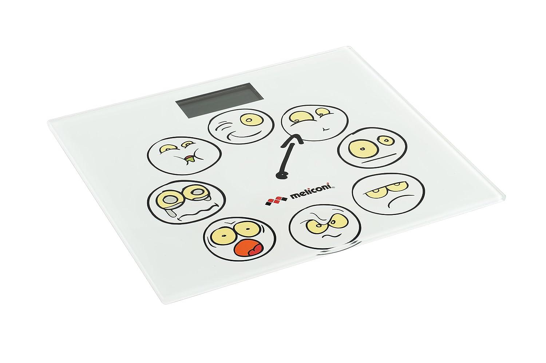 Meliconi Bilancia Pesapersone Elettronica modello Emoticons, batterie incluse, max 150 Kg, misura 30,2 x 30,2 cm 65520255000