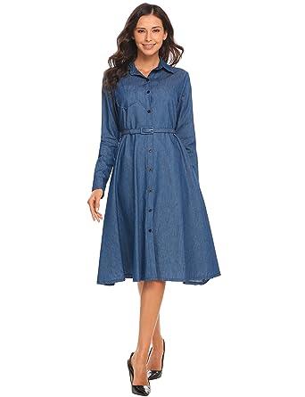 Modfine Jeanskleid Damen Hemdblusenkleid Vintage Rockabilly Kleid