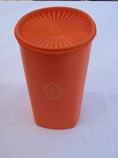 Vintage Tupperware Large 10 Inch High Orange Plastic Canister Food Storage Container & Amazon.com: Vintage Tupperware Large 10 Inch High Orange Plastic ...