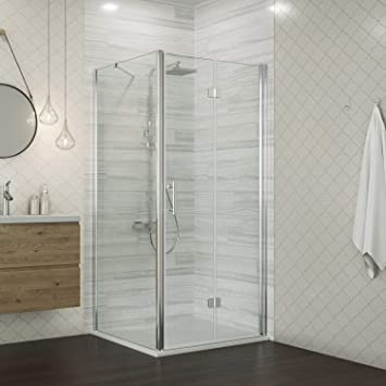 Elegant 760mm Bifold Shower Door Frameless Shower Enclosure Reversible Bathroom Glass Folding Cubicle Door With Side Panel Amazon Co Uk Diy Tools