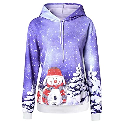 2020 Christmas Women Hoodie Sweatshirt Cute Snowman Cartoon Print Pullover Tops Casual Pocket Winter Outwear: Clothing