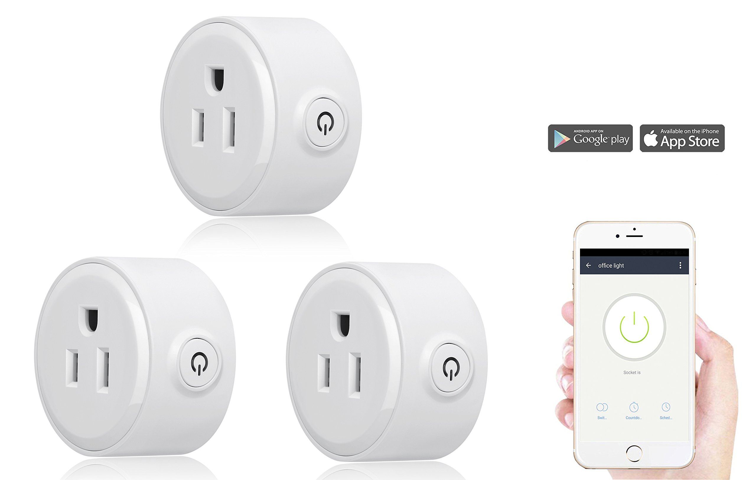 Smart Home Mini Smart Plug by Wasserstein Compatible with Alexa, Wi-fi control all your Devices Wherever you are; No expensive hub required, Simple Plug & Play Socket (3 Pack)