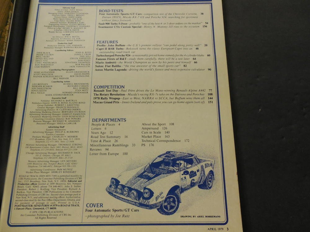 Road Track Apr 1979 Mazda RX-7; Datsun 280ZX; Porsche 924 at Amazons Entertainment Collectibles Store